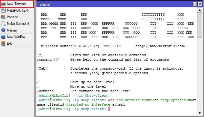 DHCP клиент настройка через терминал