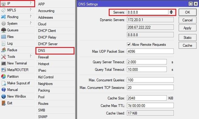 ДНС сервер микротика