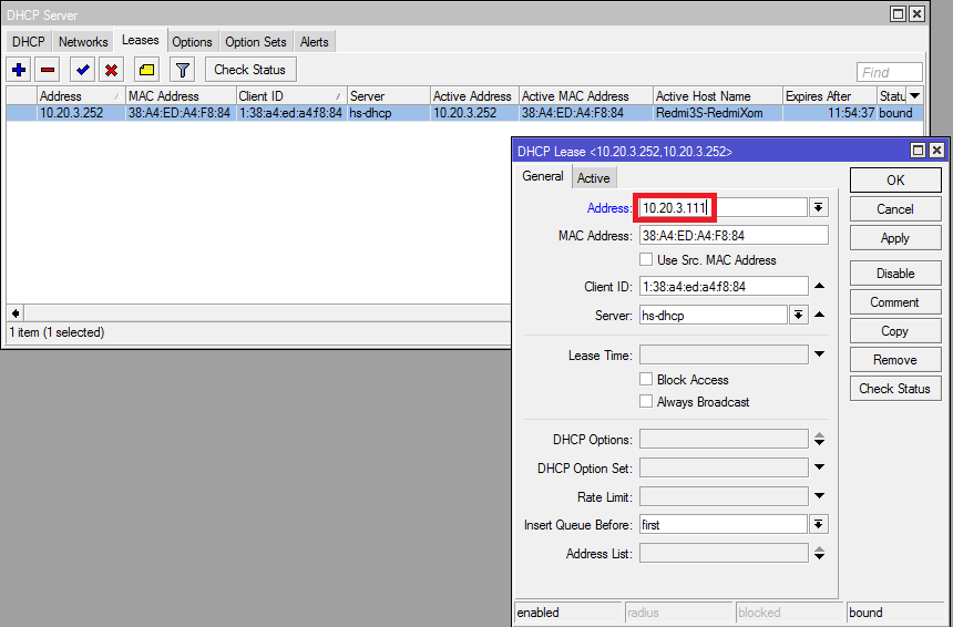 Mikrotik DHCP Make static address