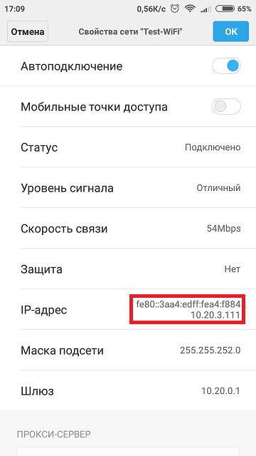 MAC IP адрес на телефоне