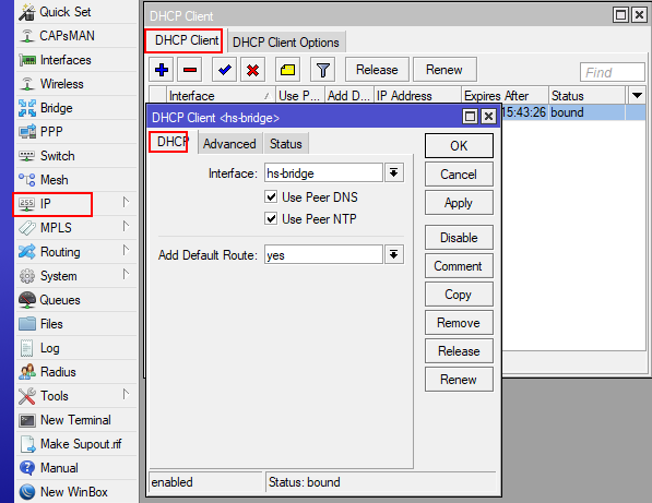 DHCP клиент на дополнительном микротике