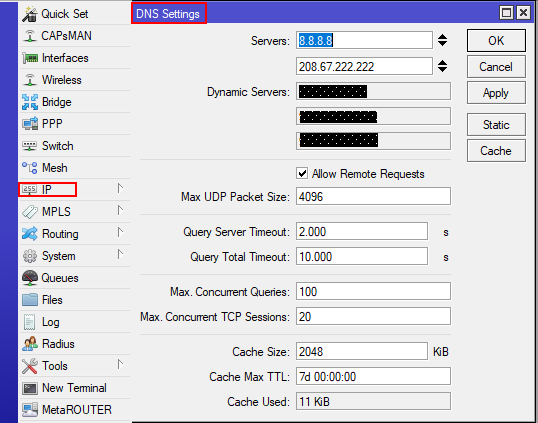 Настрока ДНС сервера