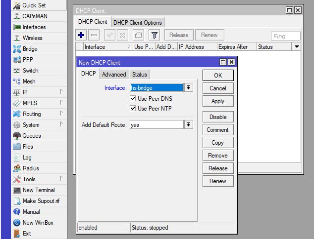 Mikrotik IP — DHCP Client