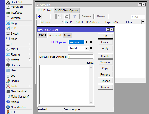 Mikrotik IP — DHCP Client Advanced