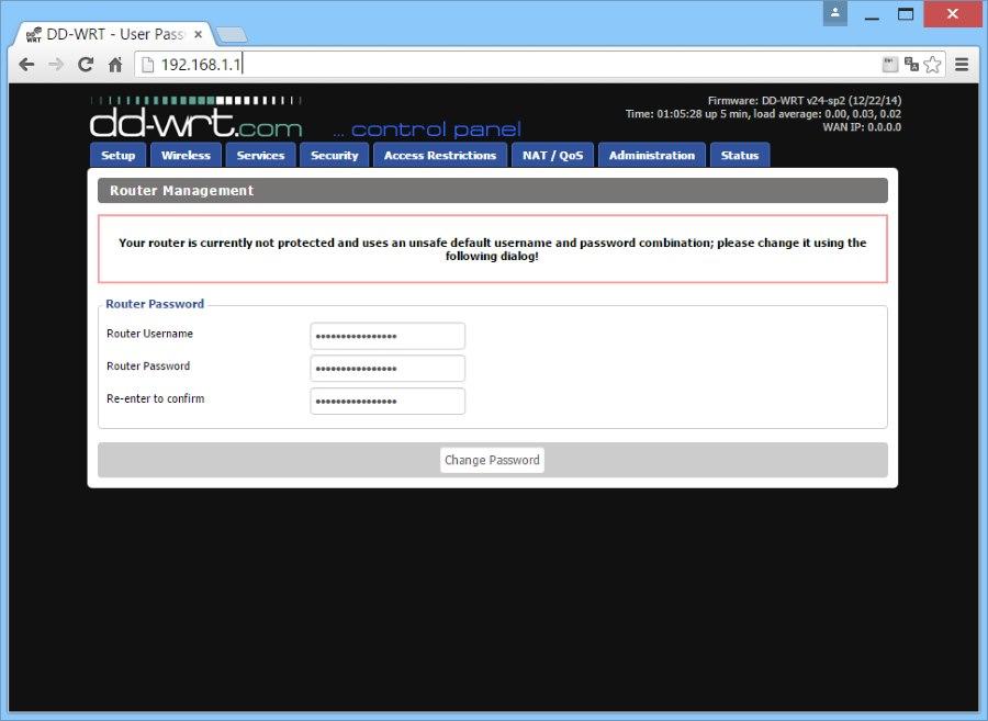dd-wrt задайте пароль администратора
