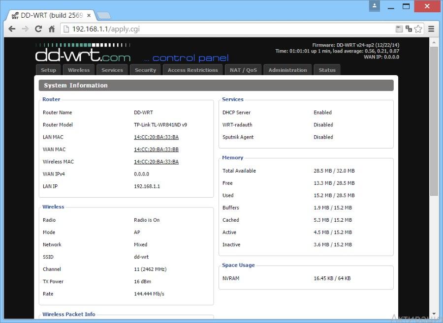 dd-wrt страница состояния роутера