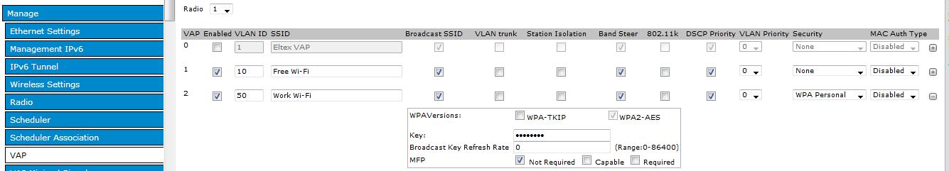 eltex настройка VAP VLAN ID SSID
