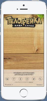 Пример страницы авторизации сауны Телогрейка.