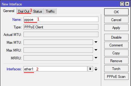 Микротик настройка интерфейса PPPoE подключения