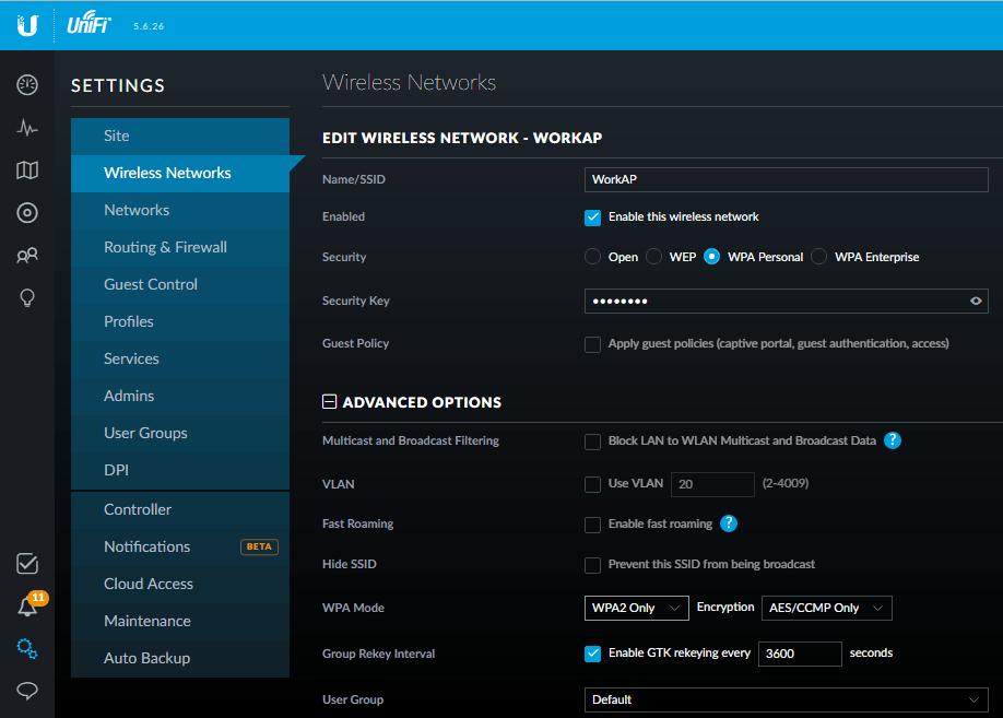 Unifi настройка рабочей сети
