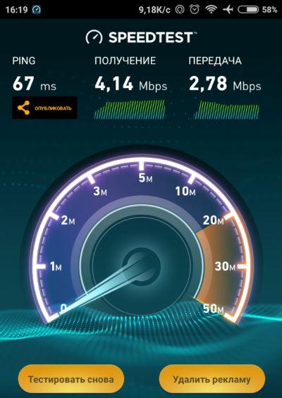 Проверка скорости SpeedTest
