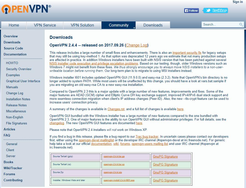 OpenVPN страница сайта