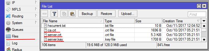 Загрузим в микротик ca.crt, server.crt, server.key