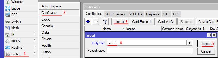 Импортируем в микротик сертификаты