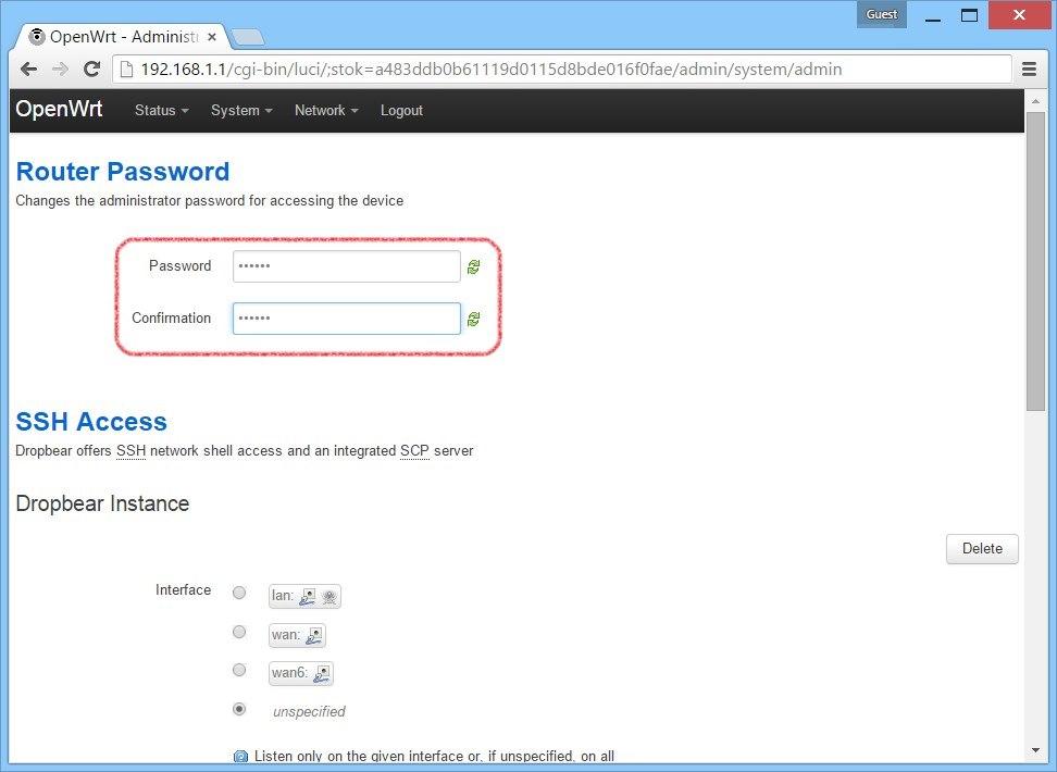 open-wrt задайте новый пароль на роутер