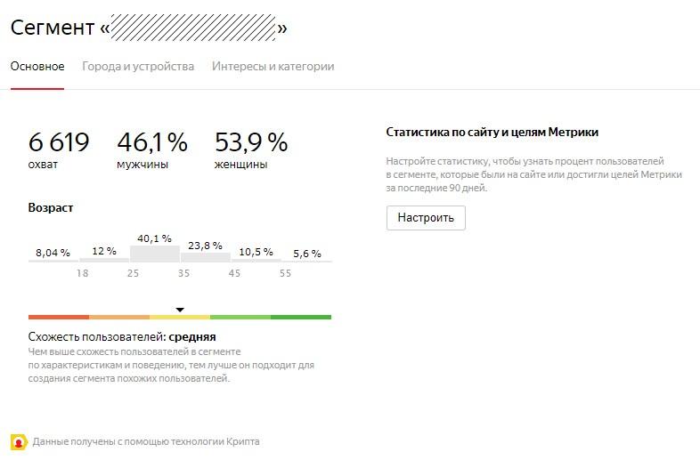 Сегмент Яндекс Аудитории Wi-Fi Сенсора