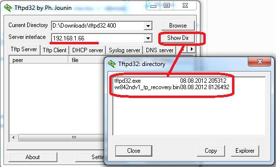 проверьте верность настройки tftp сервера