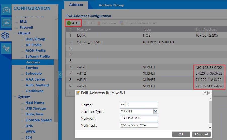 Zyxel добавление адресации